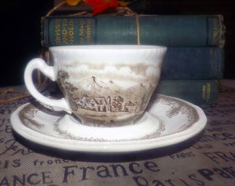 Vintage (1970s) Kensington Staffords Shakespeare's Sonnets Brown transferware R2815 tea set. Flat cup has tapered shape. Merry Month of May