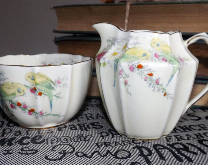 Quite vintage (1930s) Paragon Princess Margaret Rose hand-decorated creamer + open sugar bowl set.  Birds, flowers, gold edge and accents.