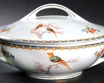 Almost antique (1920s) Altrohlau | MZ Austria | Moritz Zdekauer Victoria pattern covered vegetable bowl | tureen. Art-deco Bird of Paradise