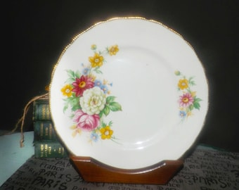 Early mid-century (1940s) Royal Swan   Booths & Colclough Riverdale large dinner plate or charger. 22K edge, flowers. Minor flaw (see below)