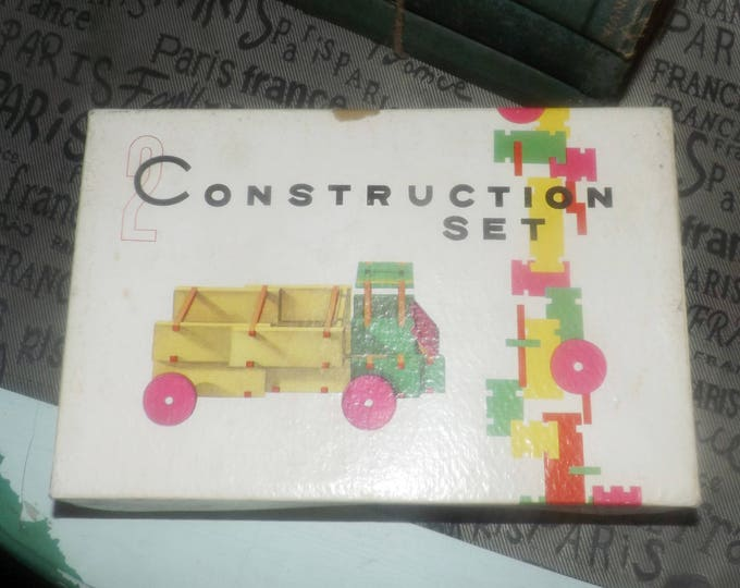 Mid-century (1950s) All-wood construction set No. 2 WB058.  Wooden model truck.  Incomplete (see below for details).