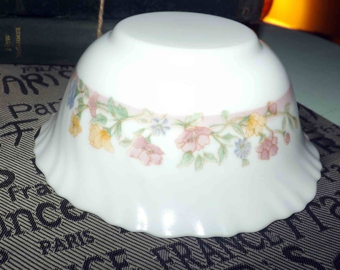 Vintage Arcopal France cereal or dessert bowl.  White milk glass, pink, purple, yellow flowers, ruffled | scalloped edge. Sold individually.