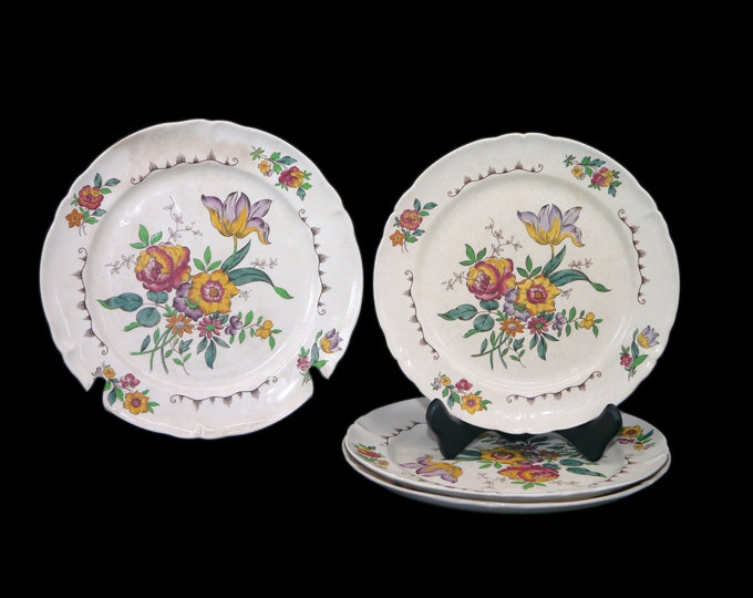 Set of four antique art nouveau (1905) Booths BOO68 pattern 6270 plates: three dinner, one luncheon. Made in England. Flaws (see below).