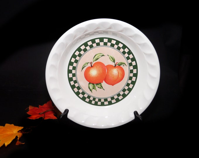 Vintage (1980s) Himark Fruit Medley recipe pie plate. Central apricots, green checks Fruit Medley pie recipe on reverse. Made in Korea.