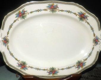 Antique (1910s) Alfred Meakin oval vegetable platter 78288. Embossed handles, art-nouveau florals, Harmony shape.