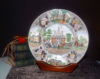 Almost antique (1920s) Adams China | Jonroth hand-decorated dinner | souvenir plate. Governors Palace, VA. Old English Staffordshire Ware.