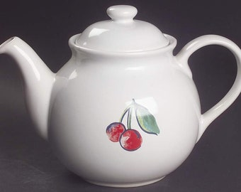 Vintage (late 1990s) Corelle Coordinates Fruit Basket pattern large stoneware teapot and lid.  Red cherries, greenery, white ground.