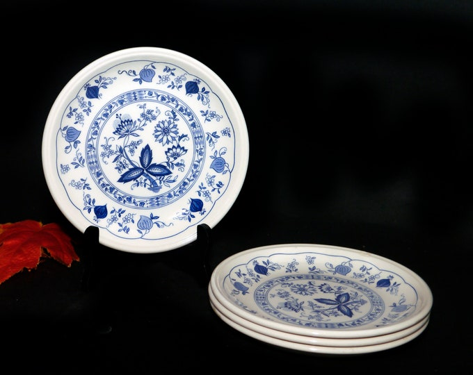 Set of four vintage (1970s) Biltons Staffordshire Tableware Blue Onion bread, dessert, side plates made in England. Flaw (see below).
