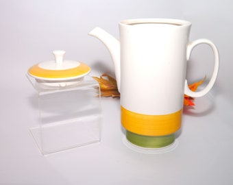 Retro vintage (1970s) Nitto | Nittocraft Sunvilla 8704 tall teapot with lid made in Japan. Green, yellow bands.