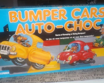 Vintage (1987) Bumper Cars board game published in Canada by Parker Brothers.  Bilingual (Eng | French) wording and instructions. Complete.