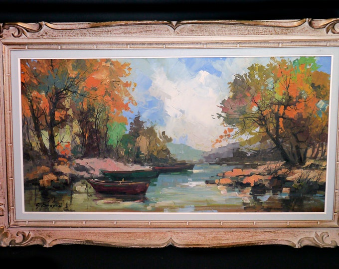 Vintage (1980s) original oil on canvas by Montreal artist Guy Duveyre in a carved gilt wood frame.