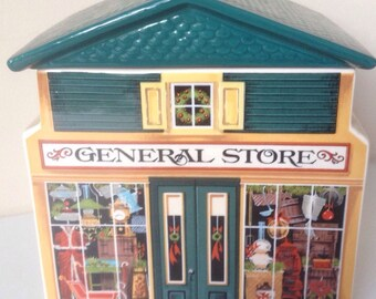 Vintage (1982) McConnells Corners General Store ceramic tea caddy or spice jar. Made in Japan for Avon's A Country Christmas series.
