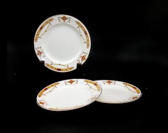 Set of three antique Sampson Bridgwood Sons Anchor Pottery Surrey | Coronation Surrey art-deco bread, dessert, side plates made in England.