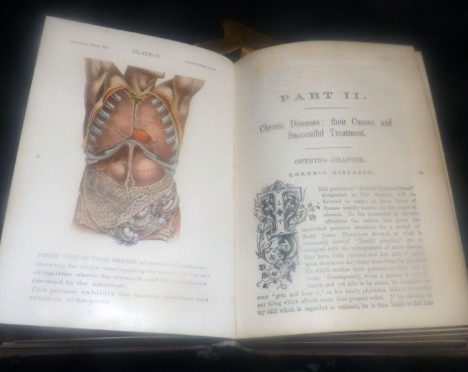 Antique (1898) Dr. Foote's Plain Home Talk illustrated antiquarian Victorian-era medical book  Murray Hill Publishers NY USA.