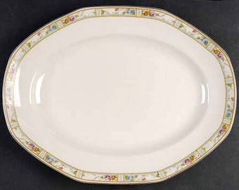 Antique (1912-1923) Grindley Carmona Smooth large vegetable | meat platter. Multicolor florals, pink roses, mustard rings, blue panels.