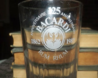 Vintage (1987) Bacardi Rum Commemorative 125th-year Anniversary tumbler | water glass. Etched-glass Bacardi Bat logo and wording in white.