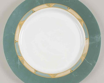 Vintage (1996) Arcopal France Cortina pattern large dinner plate | charger. Green rim, tan and green geometric verge.
