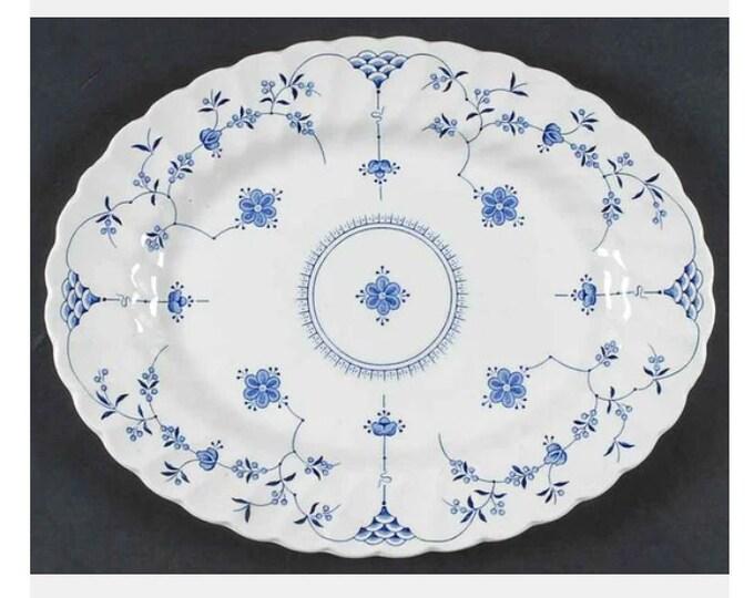 Vintage (1960s) Myott Finlandia blue-and-white oval vegetable serving platter made in England.