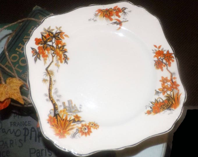 Almost antique (1920s) J&G Meakin Orange Grove hand-painted, squared salad plate.  Orange trees, embossed gold edge. SOL Sunshine.