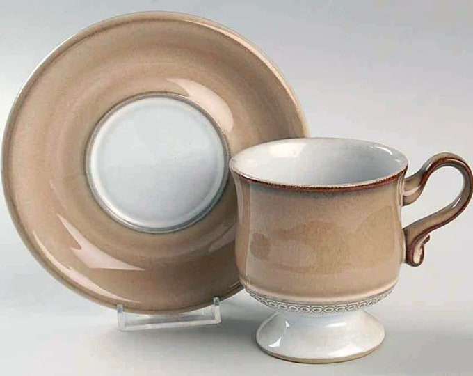 Vintage (1980s) Denby Seville stoneware cup and saucer set. Vintage stoneware made in England. Sold individually.