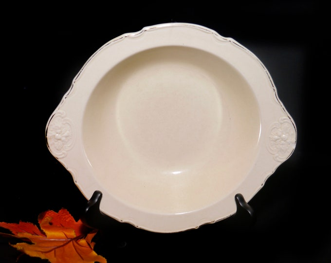 Vintage (1930s) Crown Ducal CRD6 lugged creamware vegetable serving bowl. Embossed fruit, cream ground. Ducal Ware made in England.