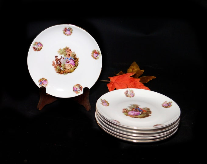 Vintage Winterling Courting Couples | Fragonard | Romance Scene | Love Story bread, dessert, side plate made in Bavaria. Sold individually.