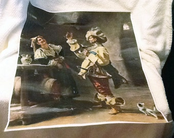 Early mid-century silk screen on canvas of Franceso Vinea's Il Bevitore (The Drinker).