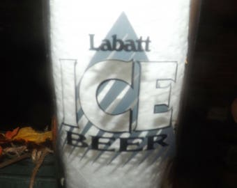 Vintage (1980s) Labatt Ice Beer pilsner glass. Etched logo, Labatt Ice story on back. Promotional glass from 1983 to launch brand.