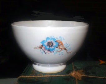 Vintage footed serving bowl with blue pansy flowers. Marked R Gila.