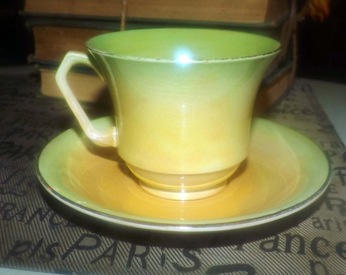 Mid-century (1950s) Royal Winton Grimwades graduated green and yellow lusterware tea set (footed cup and matching saucer).