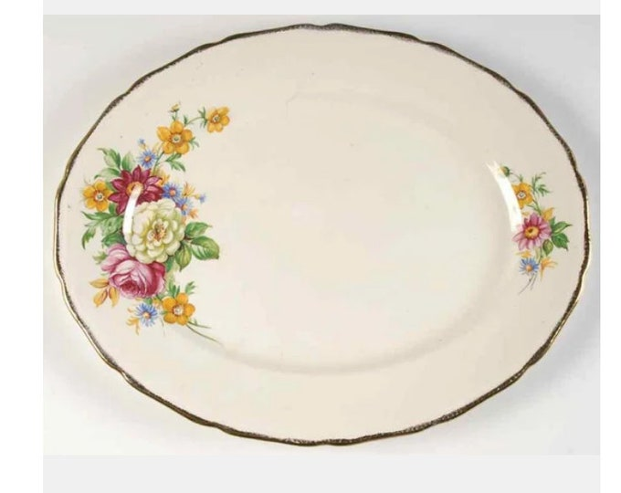 Early mid-century (1940s) Royal Swan   Booths & Colclough Riverdale oval serving platter made in England.