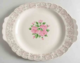 Early mid-century (1940s) Sebring USA China Bouquet 1-K-S518 large handled turkey platter. Pink roses in center, 22-k gold floral filigree