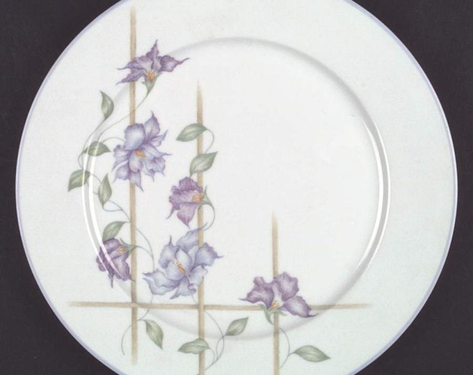 Vintage (1985) Denby Harmony large dinner plate. Purple flowers, trellis, lavender edge. Made in Portugal
