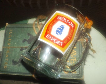 Vintage (1980s) Molson Export Canadian Beer pint stein. Etched-glass artwork.  Great man gift.