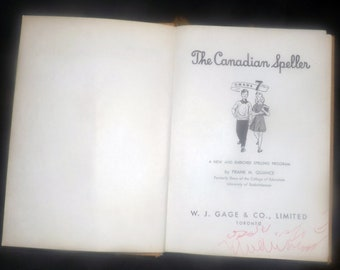 Mid-century (1950s) The Canadian Speller Grade 7 text book published by Gage in Toronto, Canada.  Complete.