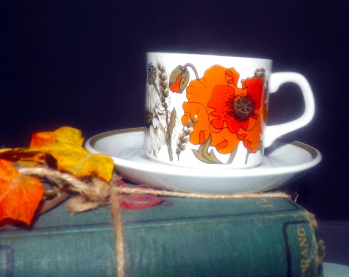 Vintage (1960s) J&G Meakin England Poppy pattern tea set (flat cup with matching saucer). Orange flowers, olive band. Meakin Studio Line.