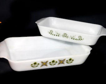 Pair of vintage (1970s) Anchor Hocking Fire King Meadow Green and Pyrex Green Daisy glass bakers | casseroles. Made in the USA.