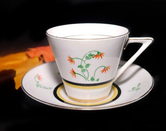 Art deco (mid 1930s) Colclough   Vale   HJC England 4029 hand-decorated tea set. Orange florals, black yellow bands.