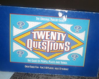 Vintage (1987) Twenty Questions Original Parlor Game of question and answer published by Bates | University Games. Complete.