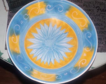 Vintage (1995) Golden Daze salad | serving bowl designed in Australia by Carleen Gaby. Hand-painted blue daisy, blue and yellow panels.