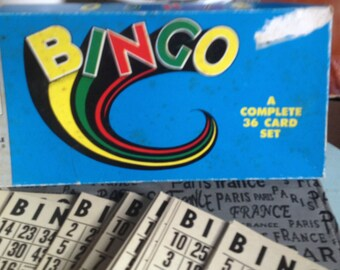 Vintage (1960s) Bingo 36-card board game #S-254 made by Somerville in London, Ontario, Canada.  Incomplete (see below).