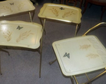 Vintage (1960s) Cal-Dak fiberglass TV trays and rolling drinks cart. Butterflies, wheat sheaves, golden glitter. Made in USA.