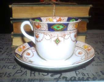Almost antique (1920s) AJ Wilkinson | Royal Staffordshire Hampton hand-painted tea set (flat cup + saucer). Cobalt and gold Imari. Flawed.