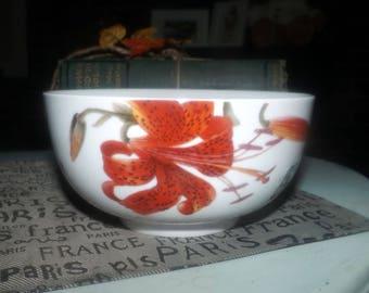 Royal Worcester Floral Haven pattern cereal or salad bowl. Vivid florals, leaves and butterflies.