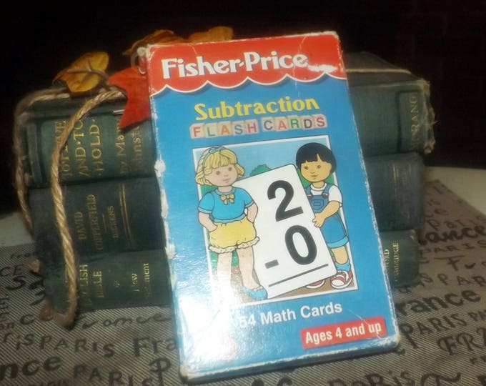 Deck of 52 vintage (1997) Fisher Price Math Cards with original box focused on subtraction problems.  Large, clear typeface. Original box.