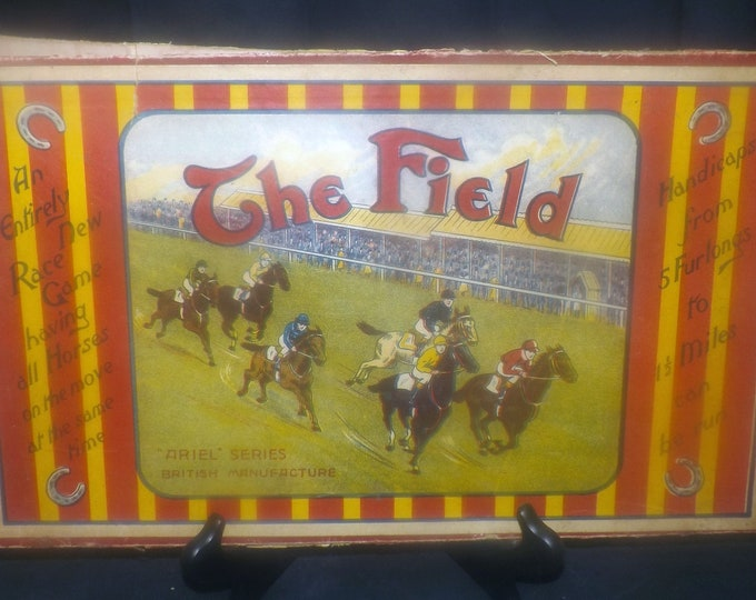 Antique (1840s) board game The Field: An entirely new race game. Ariel Series. Published UK by William Spooner. RARE! Incomplete (see below)