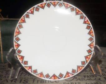 Mid-century (1950s) Rosenthal Raymond Lowey orphan saucer only. Black, orange, yellow Aztec motif.  Rosenthal Continental.