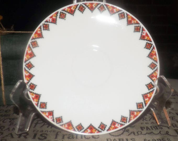 Mid-century (1950s) Rosenthal Raymond Loewy orphan saucer only. Black, orange, yellow Aztec motif.  Rosenthal Continental.