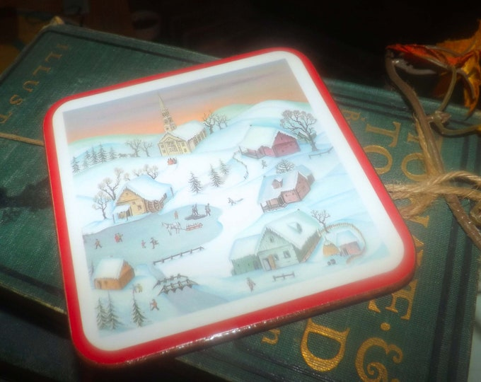 Set of 6 vintage (1970s) Pimpernel White Christmas coasters. Original box, cork backs. Made in England. Christmas village scene.