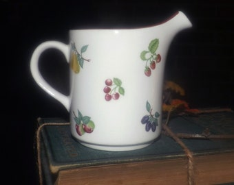 Vintage (1980s) Wade England Summer Fruit Burgundy creamer or milk jug. Fruit sprays | scattered fruit, burgundy rim
